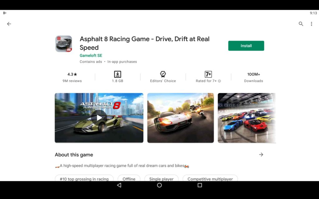 Install the Racing Game